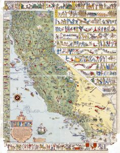 large detailed old tourist illustrated map of California state
