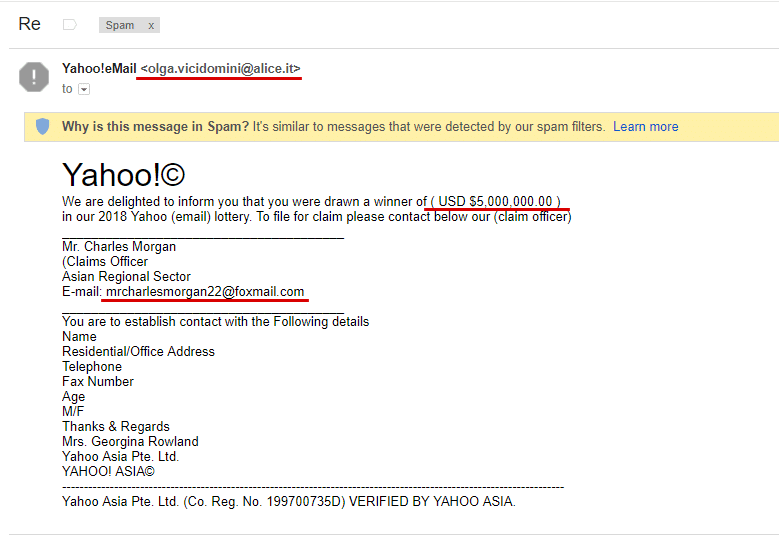 SPAM Yahoo Lottery Email